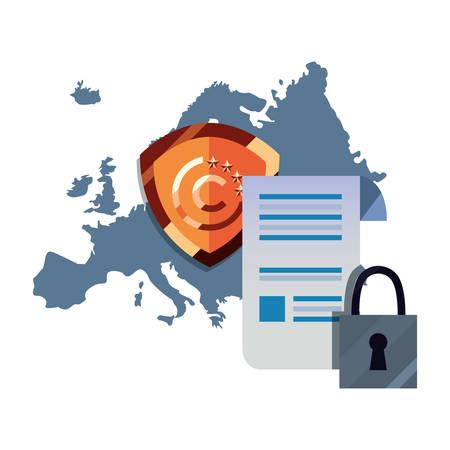 european union patent digital copyright of intellectual vector illustration