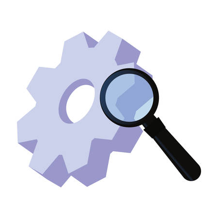 gear magnifying glass digital copyright of intellectual vector illustration  イラスト・ベクター素材