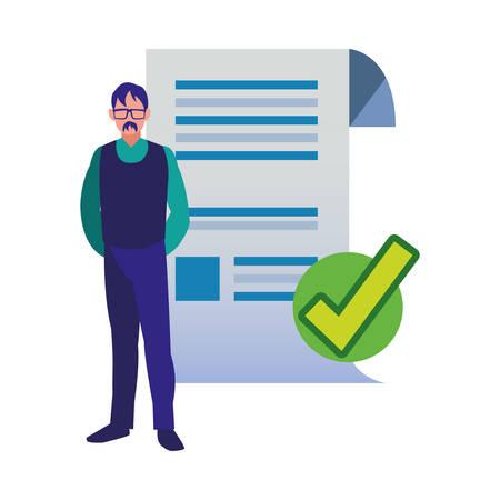 authorship man check mark paper copyright vector illustration