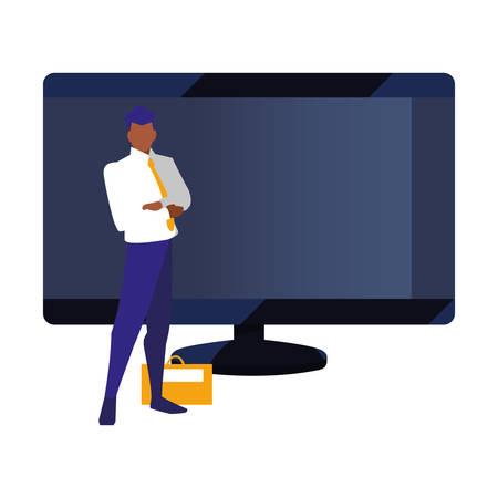 authorship man digital computer copyright vector illustration