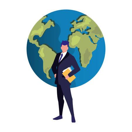 authorship man folder world copyright vector illustration  イラスト・ベクター素材