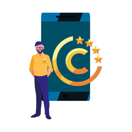 authorship man cellphone digital copyright vector illustration