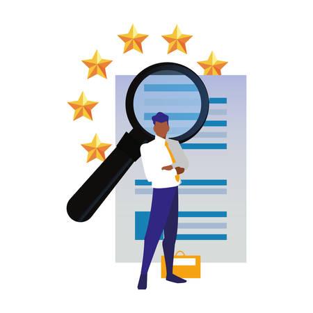authorship man analysis patent copyright vector illustration