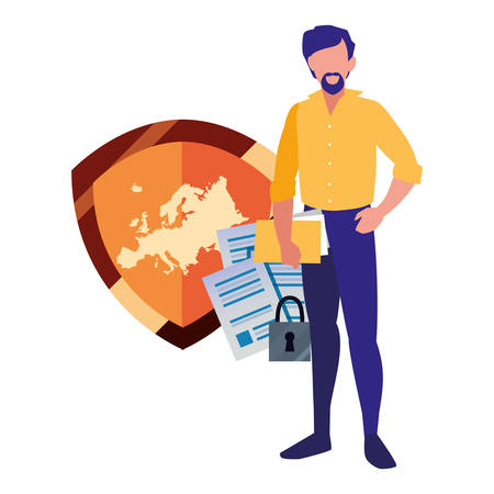 authorship man security information digital copyright vector illustration