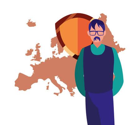 authorship man european union digital copyright vector illustration