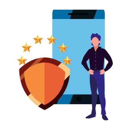 businessman mobile protection data copyright vector illustration