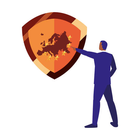 businessman shield protection copyright of intellectual vector illustration Illusztráció