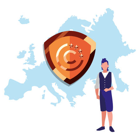 man europe protection digital copyright of intellectual vector illustration 向量圖像