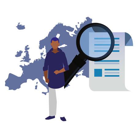 authorship man europe analysis digital copyright vector illustration Vectores