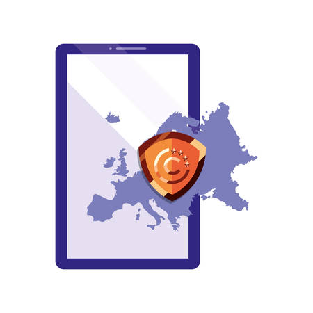 european union regulation mobile copyright vector illustration
