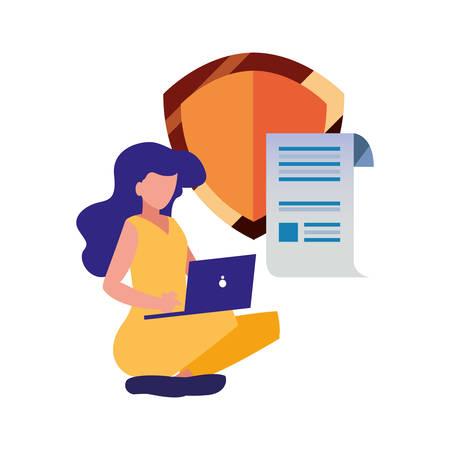 Frau mit Laptop-Schutzpatent-Copyright-Vektor-Illustration