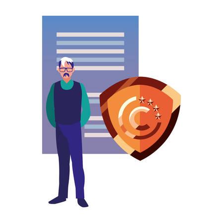 business man shield patent copyright vector illustration