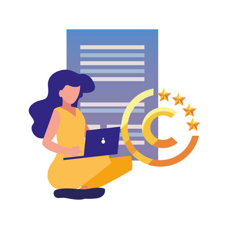 woman with laptop digital copyright vector illustration