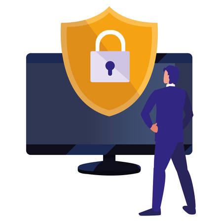 business man computer digital security copyright vector illustration