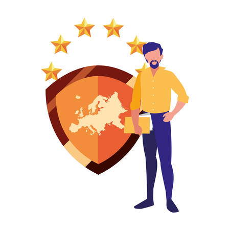 man with documents shield copyright vector illustration