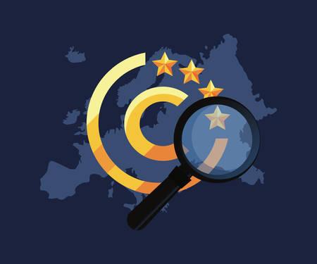 european union regulation analysis copyright vector illustration