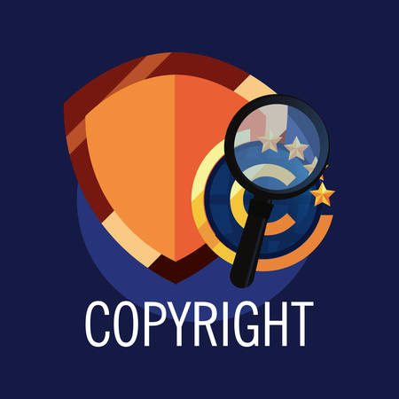 copyright shield magnifying glass analysis vector illustration