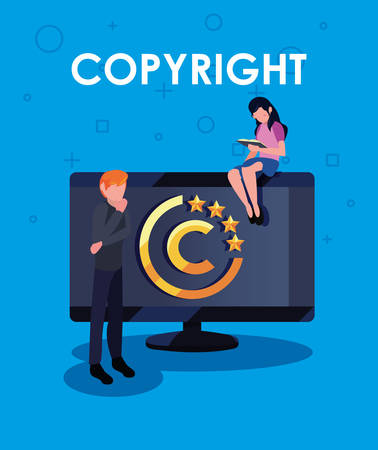 woman reading book and man computer copyright vector illustration