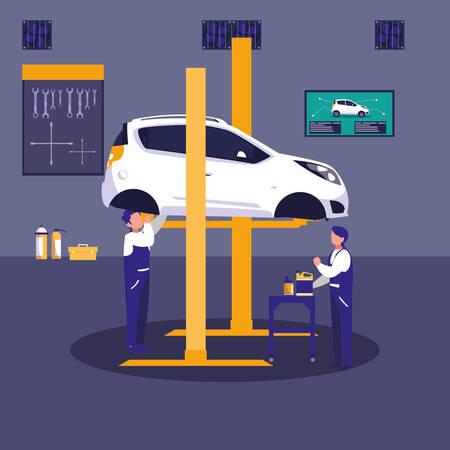 car in maintenance workshop with mechanics team vector illustration design