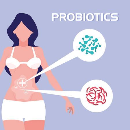 body of woman with probiotics organisms vector illustration design