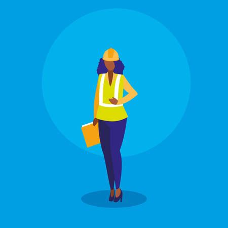 Arbeiterfrau industriell mit Ordnerdokumenten-Vektor-Illustrationsdesign