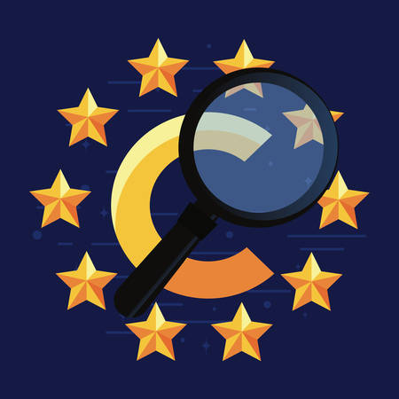 copyright magnifying glass stars sign vector illustration Illustration