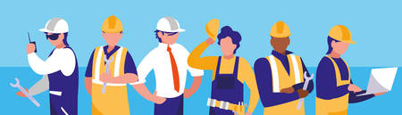 group of workers industrials avatar character vector illustration design