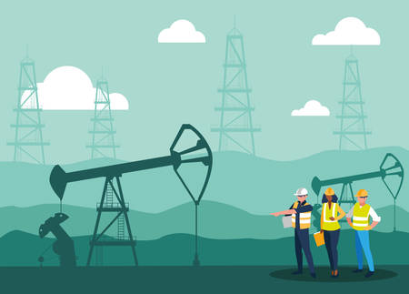team workers extracting oil vector illustration design