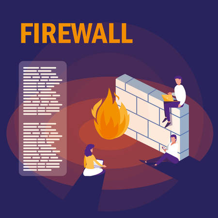 mini people with firewall and cyber security vector illustration design