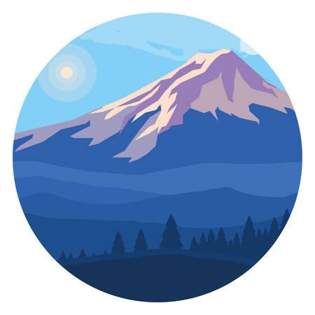 landscape mountainous in circular frame vector illustration design