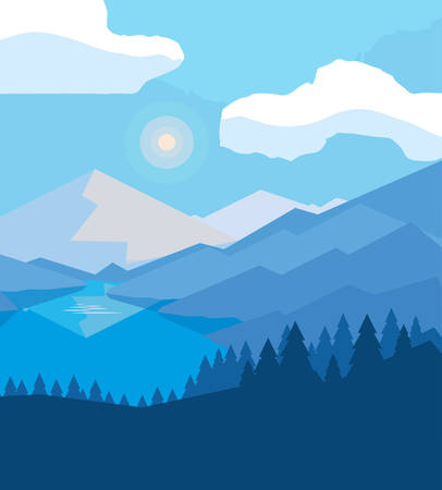 landscape with river scene icon vector illustration design 일러스트