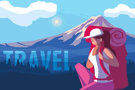 landscape mountainous with traveler vector illustration design