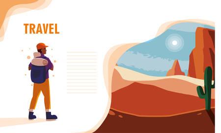 desert landscape with traveler vector illustration design