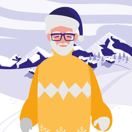 cute grandfather with winter clothes vector illustration design 向量圖像