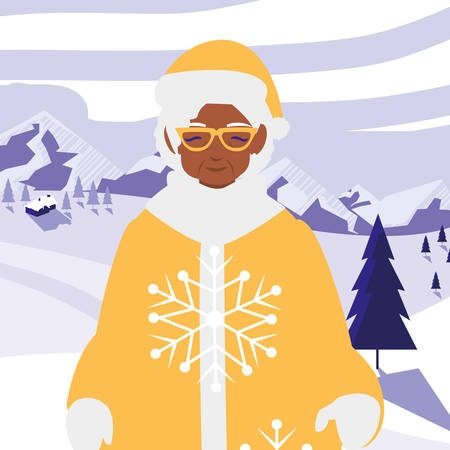 cute grandmother black with winter clothes vector illustration design Illustration