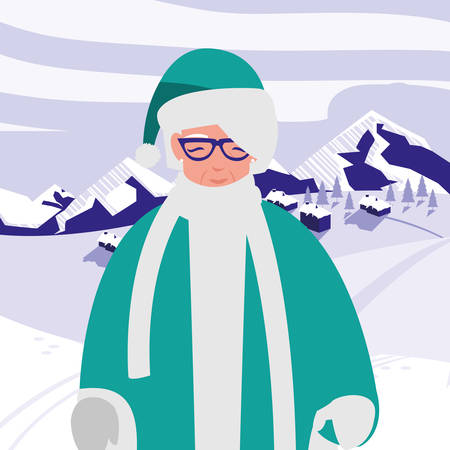 cute grandmother with winter clothes vector illustration design