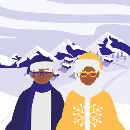 black grandparents couple with winter clothes vector illustration design Stock Vector - 125610536