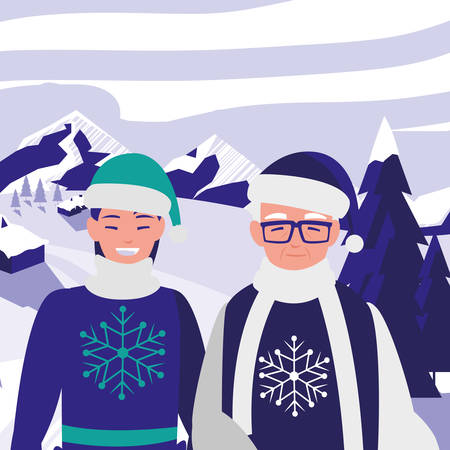 cute grandfather and daughter with winter clothes vector illustration design