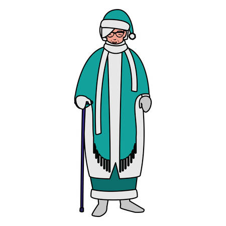 cute grandmother with cane and winter clothes vector illustration design