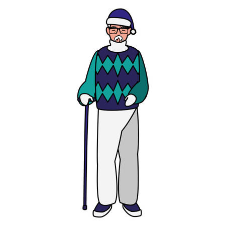cute grandfather with winter clothes vector illustration design Иллюстрация
