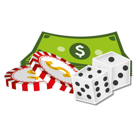 casino dice with money icons vector illustration design Illustration