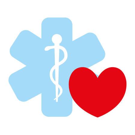 heart cardio with medical symbol vector illustration design