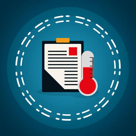medical order checklist with termometer vector illustration design