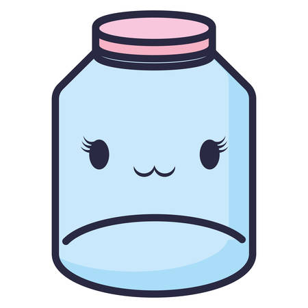 cute mason jar kawaii character vector illustration design