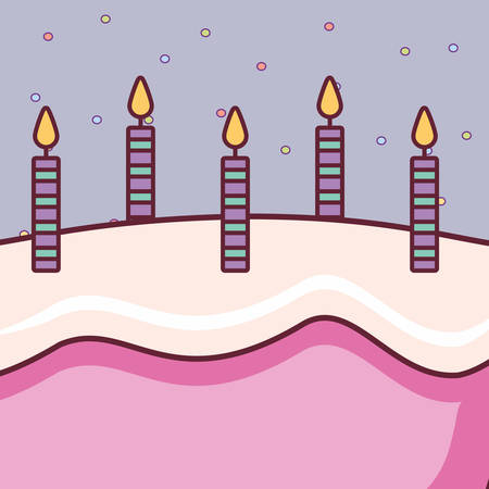 sweet birthday cake with candles vector illustration design 일러스트