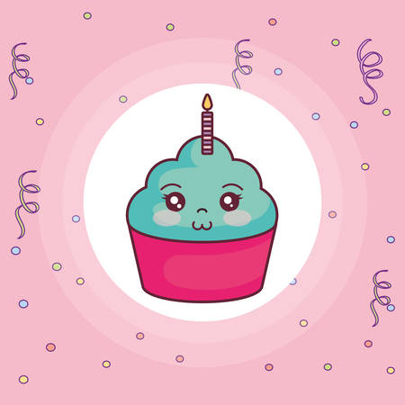 sweet cupcake with candle kawaii character vector illustration design 일러스트