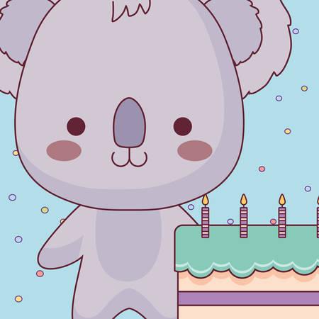 cute and little koala with sweet cake vector illustration design Illustration