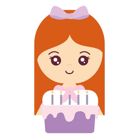 cute and little girl with sweet cupcake vector illustration design Illustration