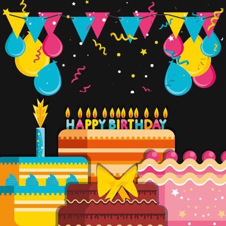 birthday cakes with decoration of balloons helium vector illustration design