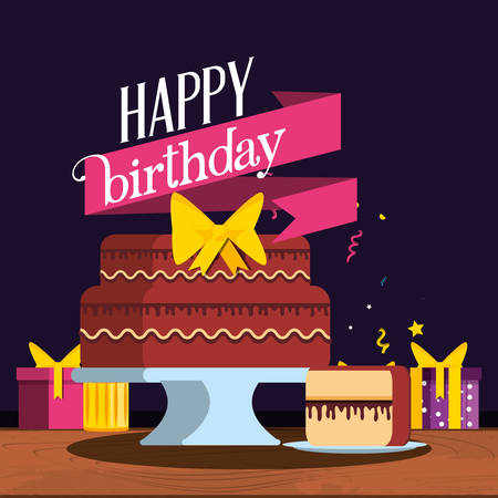 birthday cake with gifts and bow vector illustration design